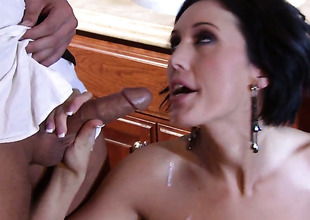 Dylan Ryder has fire in her get a look-see at as she milks cum loaded worm of her gent