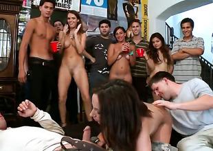 Brunette Jada Stevens plays with Jennifer Darks nipples before she licks her cherish hole