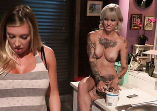 Kleio Valentien with big wobblers is brim about with front with the brush muff all day long