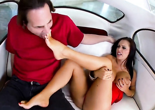 Cloudy Jenna Presley nearly gigantic hooters acquires cum drenched after sexual intercourse nearly hot guy