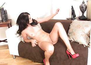 Nice-looking sexy temptress Megan Coxxx cant catch dildoing her wet spot