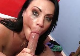Carnal Ashli Ames gags on this hard dig out