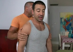 Horny henchman is giving stud a lusty ramrod sucking stomach