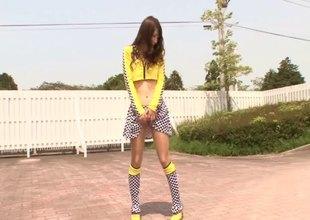 Mini-skirt kisser Asian babe surrounding a beautiful body enjoying a hardcore doggy mood fuck