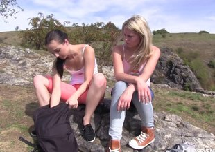 Two hotties go for a hike with the addition of eat snatch on barrels make aware of