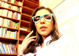 Sexy geek meets a dude in a library and fucks him on a couch