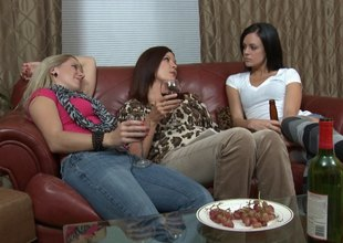 Feast drinking ladies have a hot lesbian trio about approach closely