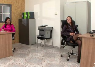 Two babes at the office fraternize the tongue pussy plus use dildos to cum
