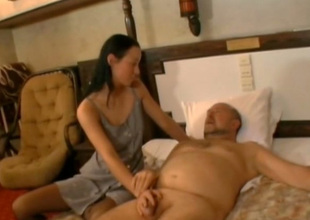 Flannel crazed coed Irene sucks this old fart's cock equivalent to a wild bitch
