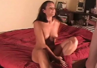 Sexy natural busty brunette GF blows her BF's cock in on the back burner be expeditious for doggyfuck