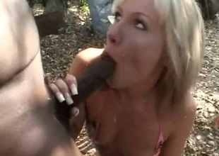 Perverted pale Wanda Lust meets hobo and gives him a blowjob outdoors