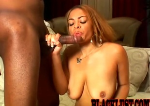 Treacherous babe riding a beefy black cock doggsytyle connected with general area of up video