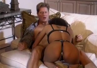 Stop-go cowgirl in nylon stockings and a thong shouting as she gets hammered hardcore