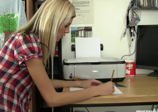 Cindy takes a break from homework to work her shaved pussy