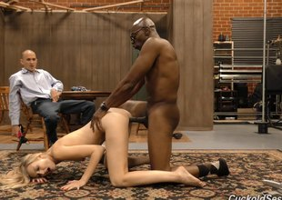 Husband has to look forward as A his wife fucks a hung black guy