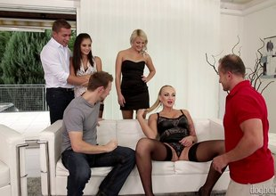 3 couples get together be advantageous to a hot group making love party