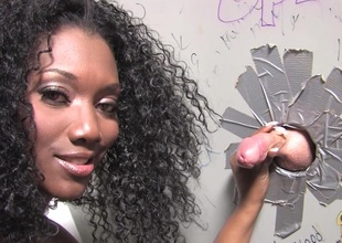 Amazing gloryhole sexual connection movie with cute ebony Alicia Twit