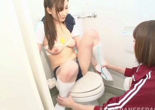 Free and easy Asian a load off one's feet hotty strapon screwed by her in summary