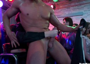 Tantalizing hotties absent crazy in a cock sucking dissimulate in the male strip Nautical tack a groupsex orgy