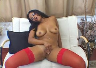 Latina sweetheart Gabriella Asstryd plays with her bedraggled pussy