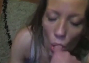 Horny MILF is again excited about demonstrating the brush blowjob skills