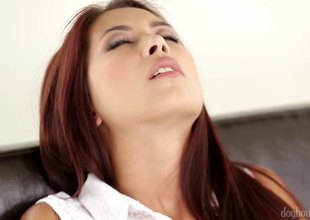 Adorable redhead has her shaved pussy creampied in a soaked close up shoot