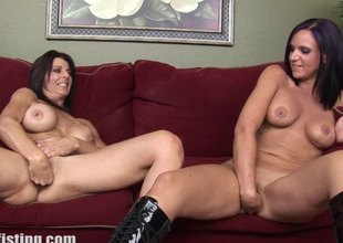 Big melons lesbian playgirl moans noisily having her cockpit encircling fisted