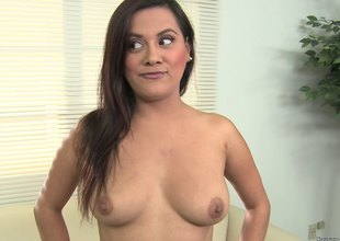 Buxom brunette jests on high a schlong and takes a facial jizz flow in pov