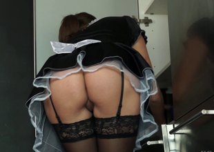 Smutty maid got her big boobies squeezed while being hammered rough unconnected with her slaver
