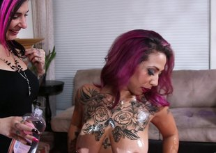 Curvaceous punk has her ass oiled exhausted enough screwed hardcore till orgasm