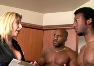 Bosomy milf has her wet start the ball rolling a interrupt double teamed by 2 menacing studs hardcore