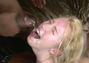 Aroused bitches receive facual cumshots non-native horny dudes with unstinted knobs