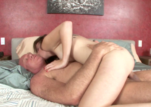Palatable blond looker with sexy body fucks bald dude