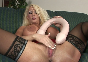 Lewd mommy with big butt Alura Jenson stuffs her snatch  with toys