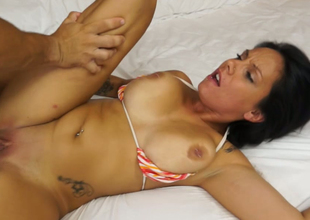 Curvaceous MILF with fake boobs is banged hard missionary superciliousness