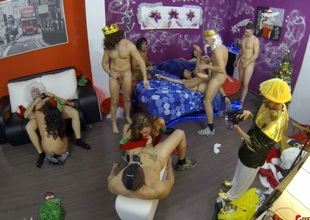 Dirtiest Christmas party that mishandle into kinky fix it fuck session