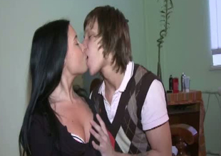 Enjoyable Russian teen is having sexy time with naff dude