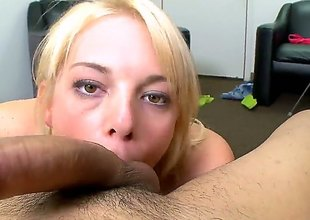 Blonde Missy Mathers with tiny tities wraps her hands around guys rock hard coil