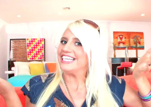 Bitchy blond Jacky Joy uses both dildos and rods to cum hard