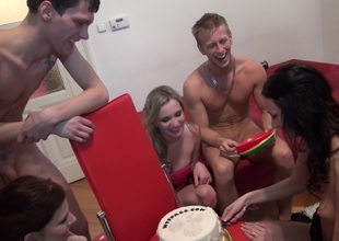 Charlotte Attenuate & Gal Piaff & Corrine & Eveline & Ilsa up defoliated students enter a excited group sex adventure