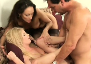 His bisexual wife brings home a cute coed for a sexy triune
