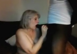 Aged slutwife sucks off BBC then hubby for double cum