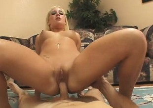 The brush perky titties bounce while she rides a throbbing jackhammer