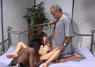 Skinny Latina slut gets shared by two older insidious males in say no to brink