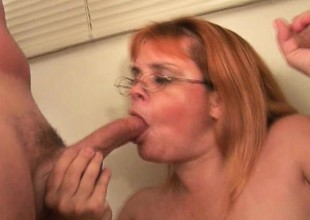 Plump grandma with glasses takes a pounding stranger a couple of cocks