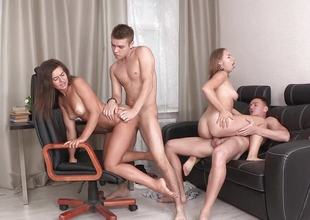Amateur babes be aware foursome