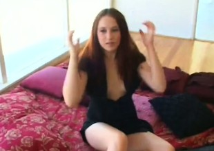 Brunette horripilate Ashley acquires a mouth sprightly of jizz and screwed on the floor