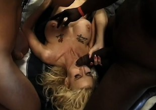 A filthy blonde just wants to loathing a cum dumpster to be sure these fellows