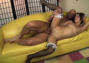Lovely Latina maid Gigi Rivera jumps on inform of of a pound local and rides it with passion