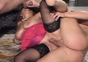 Saleable granny obtaining pounded by duo juvenile studs in the living room